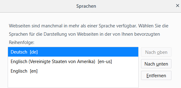 Browser Sprache in Firefox